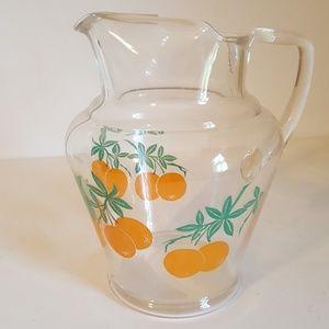 Vintage Small Glass Orange Juice Pitcher 1960s